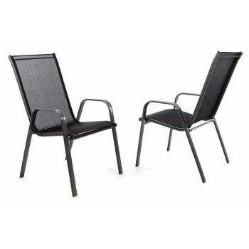 2 ks venkovní židle s prodyšným polstrováním, stohovatelná, černá