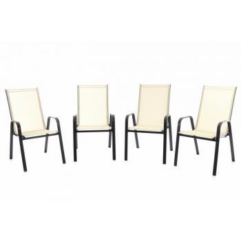 4 ks venkovní židle s prodyšným polstrováním, stohovatelná, krémová
