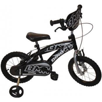 Dětské kolo 14 s přídavnými kolečky, vzhled BMX, černé