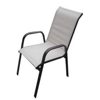 Kovová zahradní židle s prodyšnou textilií, slonová kost