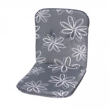 Polstrování na křeslo s nízkým opěradlem, šedá + květy