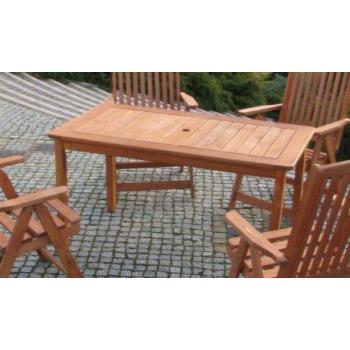 Masivní dřevěný stůl na zahradu / terasu, otvor pro slunečník, 130 cm