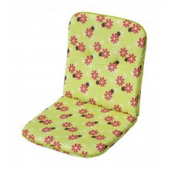 Polstrování na křeslo s nízkým opěradlem, zelená + květy