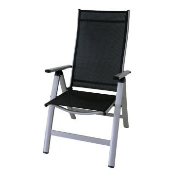 Kvalitní polohovací venkovní židle, hliníkový rám, stříbrná / černá