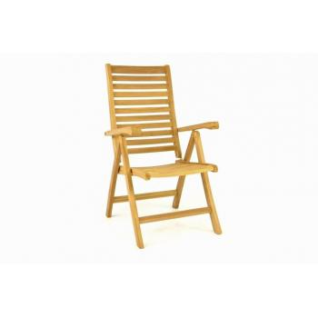 Dřevěná venkovní židle z masivního týkového dřeva, nastavitelná