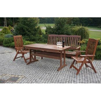 Dřevěný zahradní stůl z masivu, obdélník, tmavě hnědý, rozkládací