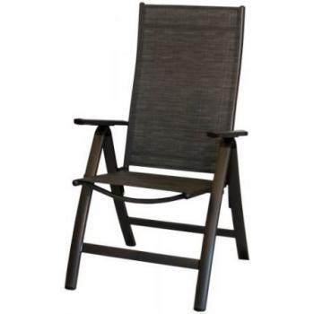 Kvalitní polohovací venkovní židle, hliníkový rám, antracit / černá