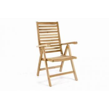 Dřevěná venkovní židle z teakového dřeva, nastavitelná opěrka