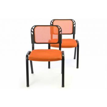 2 ks kovová stohovatelná židle do čekáren, učeben, sálů...oranžová