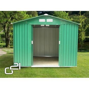 Plechový zahradní domek 251x231x198 cm, posuvné dveře, zelený
