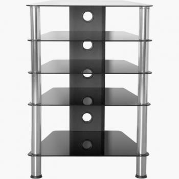 Velký moderní stolek na TV a Hi-fi soustavu, kov / sklo, 88 cm