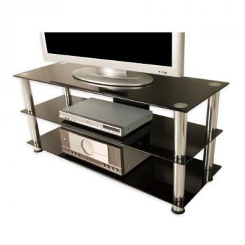 Designový moderní stolek pod televizi, sklo / kov