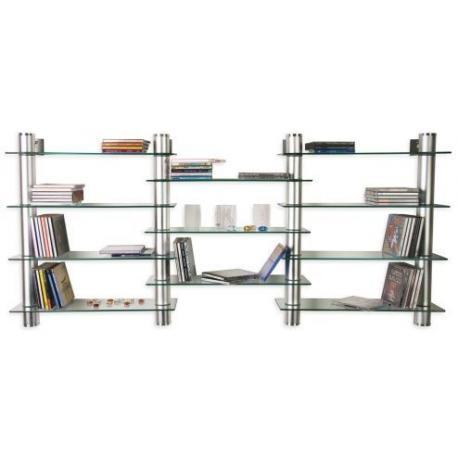 Designová sestava skleněných poliček 132 x 60 cm, čiré sklo