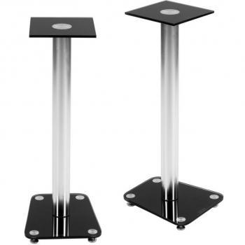 2 ks moderní stojany na reproduktory, hliník / sklo, 70 cm