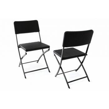 2 ks skládací zahradní židle kov / plast, ratanová optika