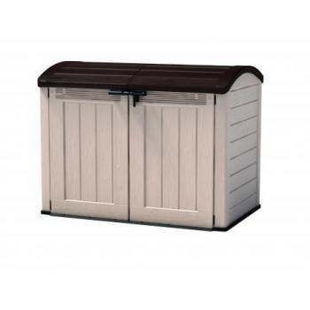 Velký venkovní skladovací box s víkem, 120x146x82 cm, béžová / hnědá