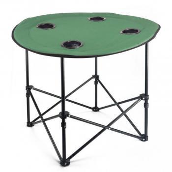Kulatý skládací stolek kov / textilie, průměr 70 cm, zelený