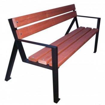 Masivní venkovní lavička do parků, k přišroubování, kov / dřevo, 158 cm