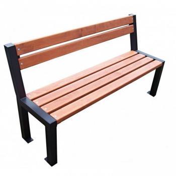 Pevná venkovní lavička do parků i zahrad, kov / dřevo, 162 cm