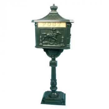 Poštovní schránka na stojanu 111 cm, historický vzhled, zelená