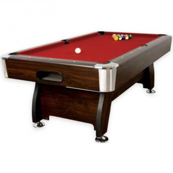 Větší kulečníkový stůl 7 FT s vybavením, dřevodekor / červená