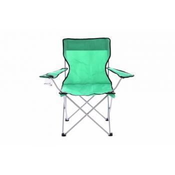 Skládací rybářská židle s područkami, kov / textile, zelená