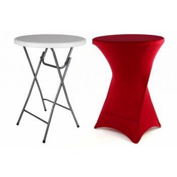 Vysoký kulatý párty stolek s elastickým potahem, červený, 110 cm