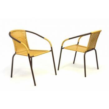 2 ks kovová židle na terasu s umělým výpletem, hnědá / béžová