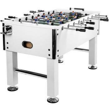 Větší stolní fotbal s kovovými rohy, 140x73x87 cm,  bílá / chrom