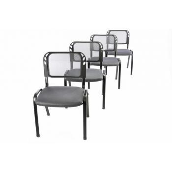 4 ks stohovatelná pevná kancelářská židle, prodyšné opěradlo, šedá