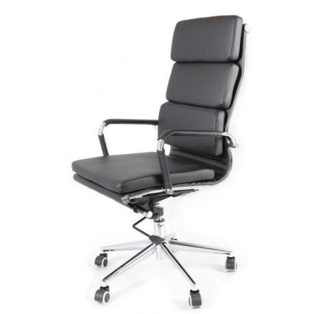 Designové otočné kancelářské křeslo, kožený vzhled, černá / chrom