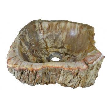 Designové umyvadlo ze zkamenělého kmene stromu, krémové