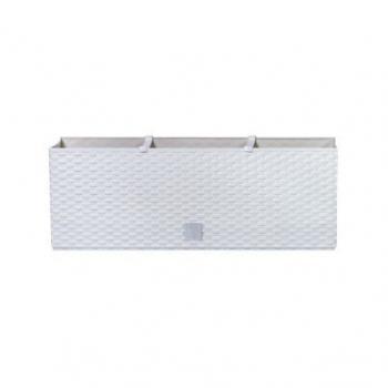 Samozavlažovací okrasný truhlík 51,4x19x18,6 cm, bílý