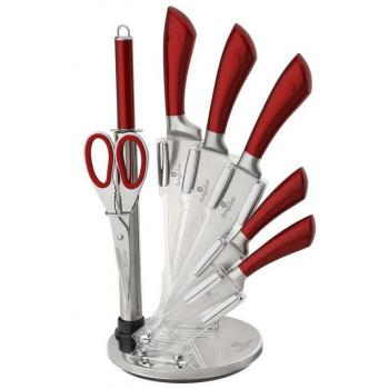 Designová sada 8 kusů kuchyňských nožů, červená