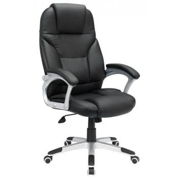 Elegantní kancelářské křeslo, měkké polstrování, černá / stříbrná