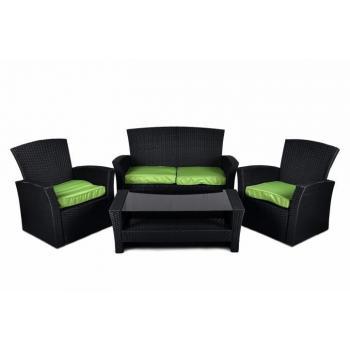 Moderní ratanový nábytek na terasu, zahradu, černá / zelená