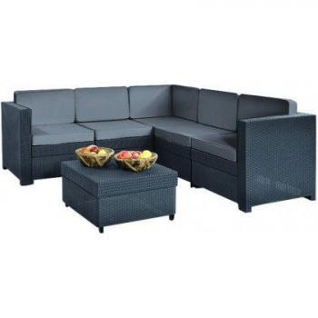 Ratanová rohová venkovní sestava nábytku, antracit