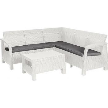 Rohová ratanová venkovní pohovka+ stolek, bílá