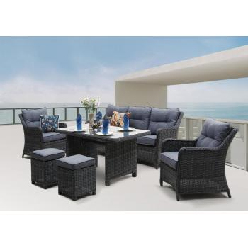 Rodinný zahradní nábytek pro 7 osob, ratan, antracit / šedá