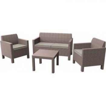 Moderní set ratanového nábytku do venkovních prostor, cappuccino