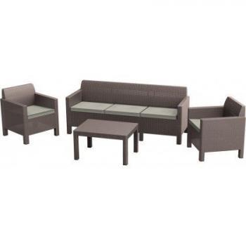 Ratanový rodinný nábytek na terasu, pohovka, křesla, stolek, cappuccino