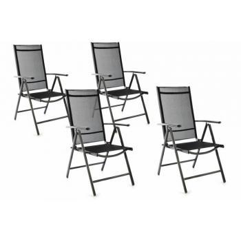 4 ks polohovatelná venkovní židle, prodyšné polstrování, černá