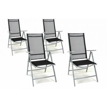 4 ks skládací venkovní židle, síťované opěradlo, šedá / černá