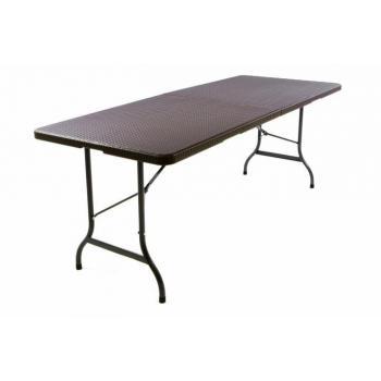 Skládací kempinkový stůl kov / plast, 180 cm, hnědá