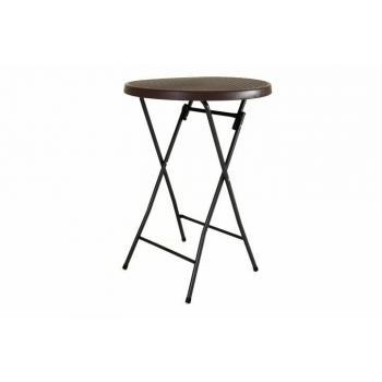Vysoký barový stolek venkovní, kulatý, 110 cm, hnědý