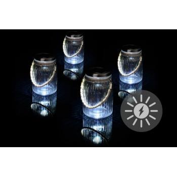 4 ks solární světla na zahradu, k zavěšení, zavařovací sklenice