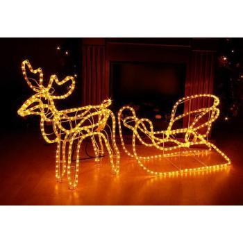 Velká svítící vánoční figurka- sob se saněmi venkovní / vnitřní, výška 65 cm