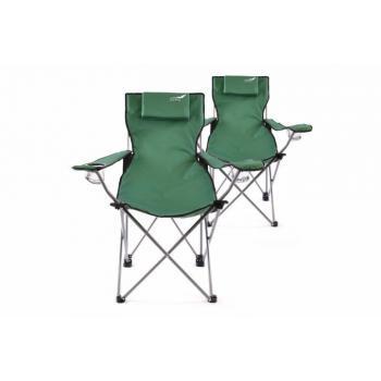 2 ks skládací kempovací židle s područkami, polštářek, zelená