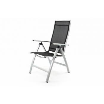 Elegantní venkovní židle s hliníkovým rámem, polohovací, stříbrná / černá
