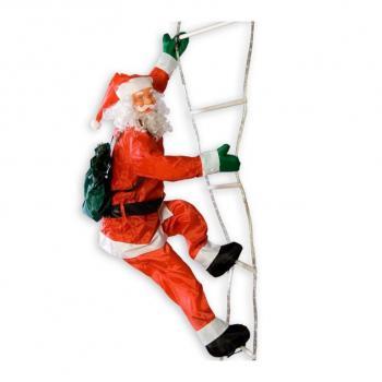 Velká vánoční figurka- Santa Claus na žebříku, svítící, 240 cm